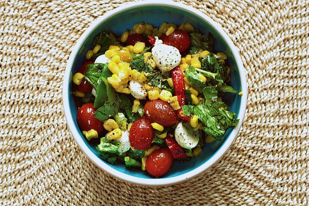 Caprese Corn Salad: Clean out the Freezer Dish