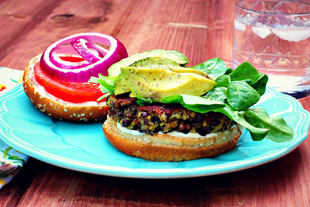 Easy Lentil Veggie Burgers With Avocado