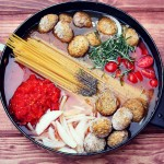 One Pot Tomato Rosemary Linguini With Meatballs & Mozzarella