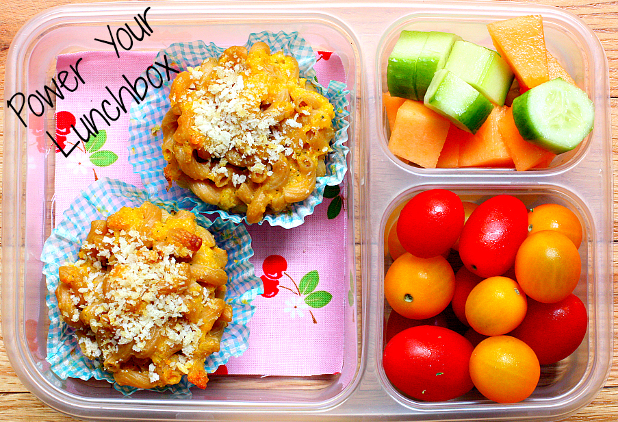 Mac & Cheese Muffins -power your lunchbox post