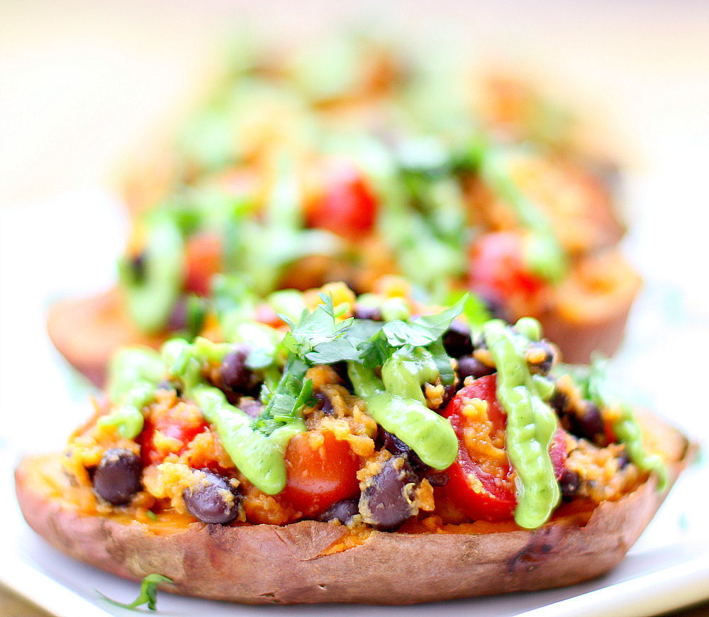 Southwest Stuffed Sweet Potato With Avocado Cream Sauce